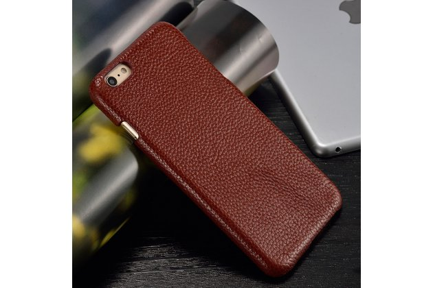 Фирменная роскошная задняя панель-крышка обтянутая импортной кожей для Motorola Moto X1  / X2 (XT1085 / XT1097) коричневая