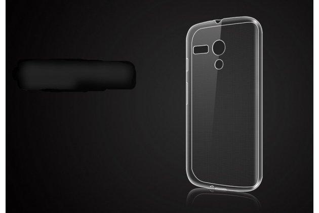 Фирменная ультра-тонкая полимерная из мягкого качественного силикона задняя панель-чехол-накладка для Motorola Moto G1 8Gb / Motorola Moto G1 Dual Sim 16Gb (XT1033 / XT1032 / XT1034) прозрачная