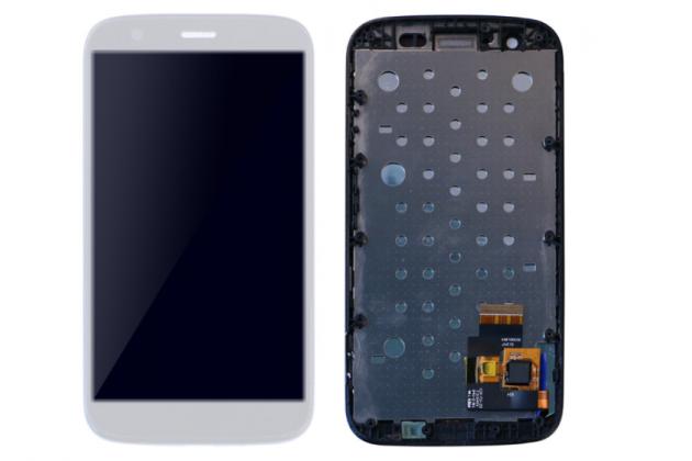 Фирменный LCD-ЖК-сенсорный дисплей-экран-стекло в сборе с тачскрином на телефон Motorola Moto G1 8Gb / Motorola Moto G1 Dual Sim 16Gb (XT1033 / XT1032 / XT1034) белый + гарантия