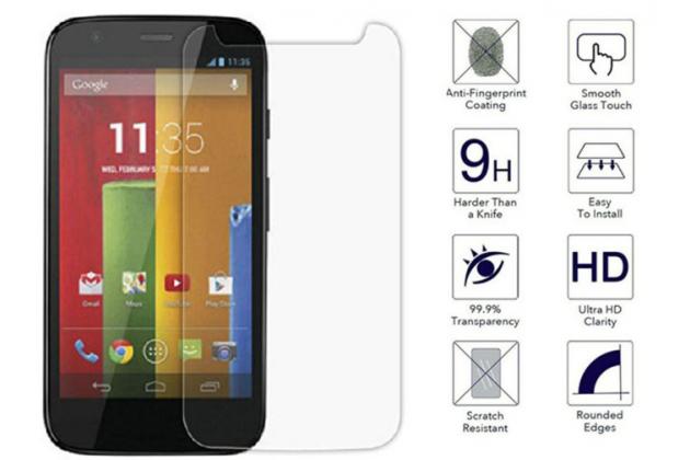 Фирменное защитное закалённое противоударное стекло для телефона Motorola Moto G1 8Gb / Motorola Moto G1 Dual Sim 16Gb (XT1033 / XT1032 / XT1034) из качественного японского материала премиум-класса с олеофобным покрытием