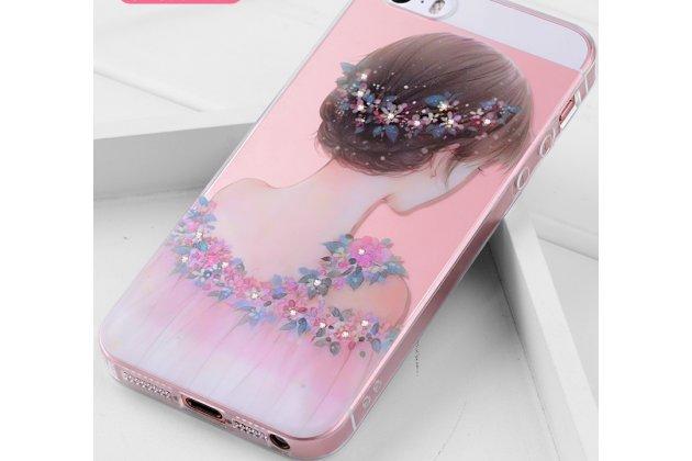 """Фирменная роскошная задняя панель-чехол-накладка  из мягкого силикона с безумно красивым расписным 3D рисунком на iPhone 5S """"тематика Девушка"""""""