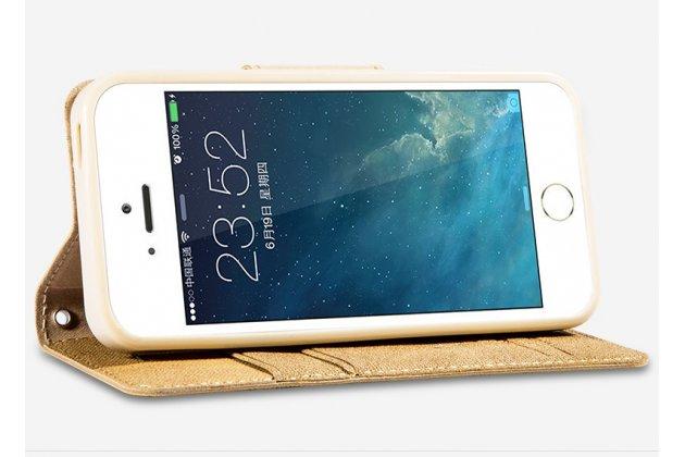 """Фирменный премиальный элитный чехол-книжка из качественной импортной кожи с мульти-подставкой и визитницей для iPhone 5S """"Ретро"""" золотой"""