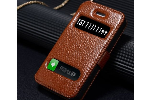 Фирменный чехол-книжка для iPhone 5S коричневый с окошком для входящих вызовов и свайпом водоотталкивающий
