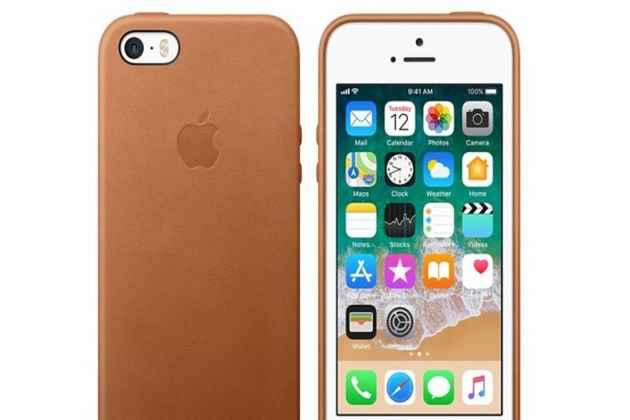 Фирменная оригинальная подлинная крышка-накладка с логотипом из тончайшего и прочного пластика обтянутая импортной кожей для iPhone 5S коричневая