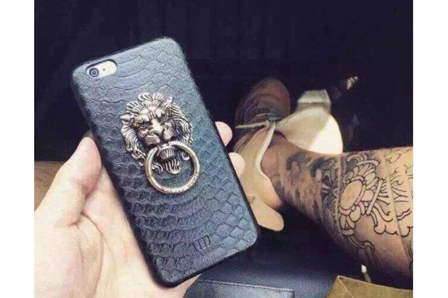 Фирменная элегантная экзотическая задняя панель-крышка с фактурной отделкой натуральной кожи змеи для iPhone 5S с подставкой в виде головы Льва в черном цвете