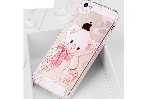 """Фирменная роскошная задняя панель-чехол-накладка  из мягкого силикона с безумно красивым расписным 3D рисунком на iPhone 5S """"тематика Мишка"""""""