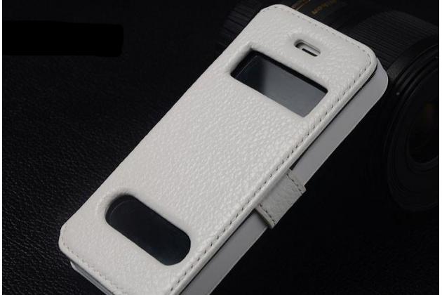 Фирменный чехол-книжка для iPhone 5S белый с окошком для входящих вызовов и свайпом водоотталкивающий