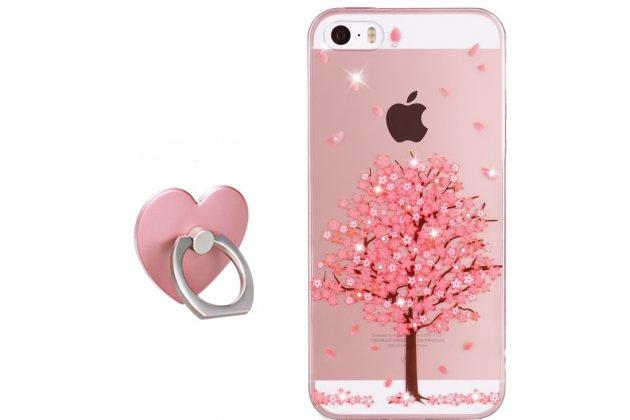 """Фирменная роскошная задняя панель-чехол-накладка  из мягкого силикона с безумно красивым расписным 3D рисунком на iPhone 5S """"тематика Розовое Дерево"""""""