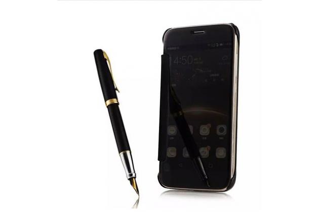 """Чехол-книжка с дизайном """"Clear View Cover"""" полупрозрачный с зеркальной поверхностью для iPhone 5S черный"""