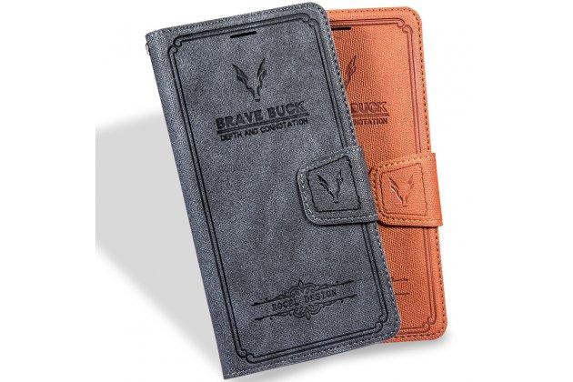 """Фирменный премиальный элитный чехол-книжка из качественной импортной кожи с мульти-подставкой и визитницей для iPhone 5S """"Ретро"""" черный"""