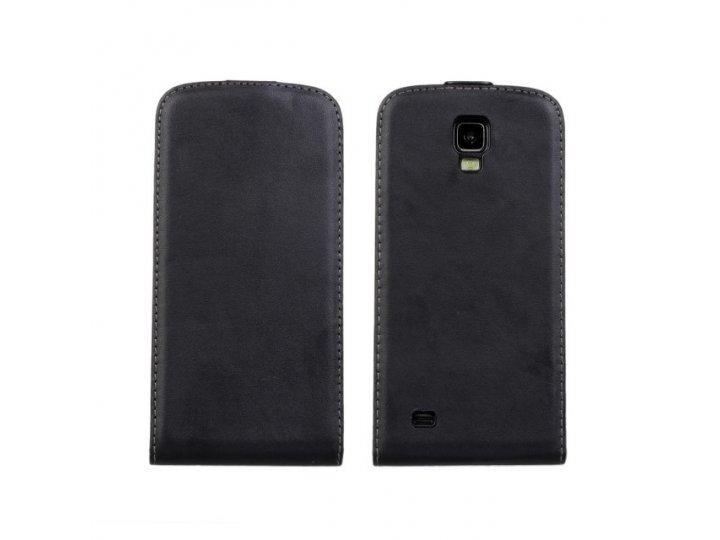 Фирменный оригинальный вертикальный откидной чехол-флип для Samsung Galaxy S4 Active GT-I9295 черный из натура..