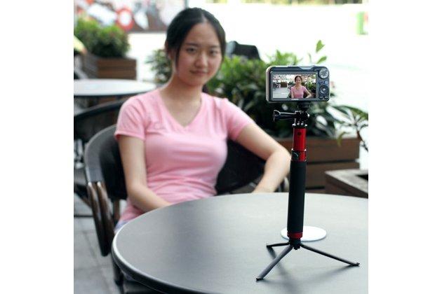 Оригинальная фирменная алюминиевая прочная селфи-палка/ трипод для всех моделей телефонов и экшн-камер прорезиненной ручкой черная