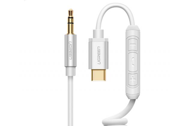 Фирменный аудио-кабель UGREEN AUX jack 3.5 (m) - TYPE-C с микрофоном и переключателем песен