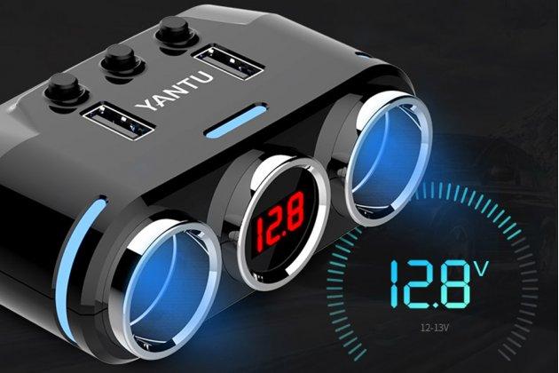 Фирменное автомобильное зарядное устройство разветвитель прикуривателя 12v-24 на два гнезда + USB 3.0 с вольтметром