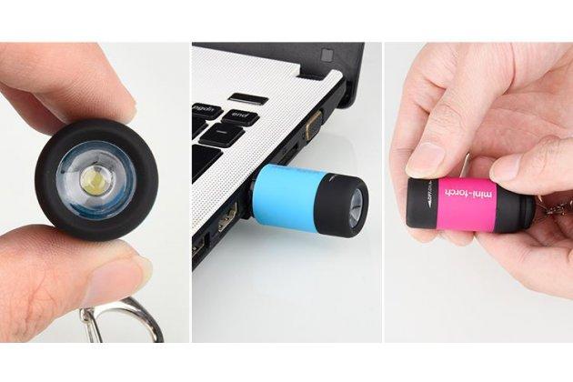 Портативный карманный светодиодный брелок-мини-фонарик с зарядом от USB порта и с кольцом для ключей