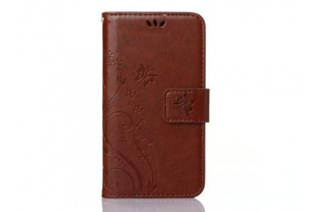 Фирменный чехол-книжка с красивым узором из качественной импортной кожи с подставкой застёжкой и визитницей для Samsung Galaxy Ace 4 Neo SM-G318H/DS / Samsung Galaxy V Plus коричневый