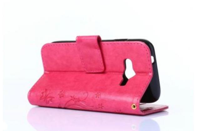 Фирменный чехол-книжка с красивым узором из качественной импортной кожи с подставкой застёжкой и визитницей для Samsung Galaxy Ace 4 Neo SM-G318H/DS / Samsung Galaxy V Plus розовый