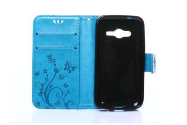 Фирменный чехол-книжка с красивым узором из качественной импортной кожи с подставкой застёжкой и визитницей для Samsung Galaxy Ace 4 Neo SM-G318H/DS / Samsung Galaxy V Plus голубой