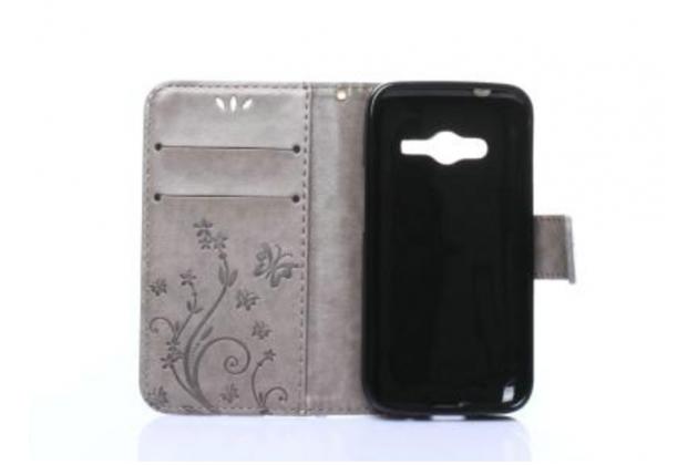 Фирменный чехол-книжка с красивым узором из качественной импортной кожи с подставкой застёжкой и визитницей для Samsung Galaxy Ace 4 Neo SM-G318H/DS / Samsung Galaxy V Plus серый