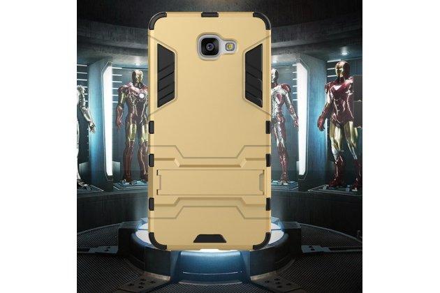 Противоударный металлический чехол-бампер из цельного куска металла с усиленной защитой углов и необычным экстремальным дизайном для Motorola Moto G3 Gen.3 (XT1550/ XT1548) золотого цвета