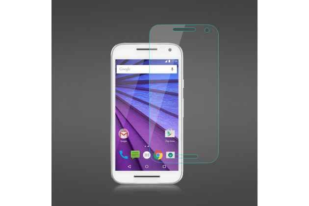 Фирменное защитное закалённое противоударное стекло для телефона Motorola Moto G3 Gen.3 (XT1550/ XT1548) из качественного японского материала премиум-класса с олеофобным покрытием