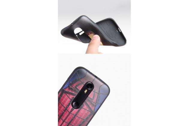 """Фирменная роскошная задняя панель-чехол-накладка из мягкого силикона с объемным  3D изображением  на Motorola Moto G3 Gen.3 (XT1550/ XT1548) с безумно красивым рисунком """"Человек-паук"""""""