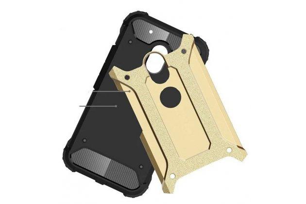 Противоударный усиленный ударопрочный фирменный чехол-бампер-пенал для Motorola Moto G3 Gen.3 (XT1550/ XT1548) золотой