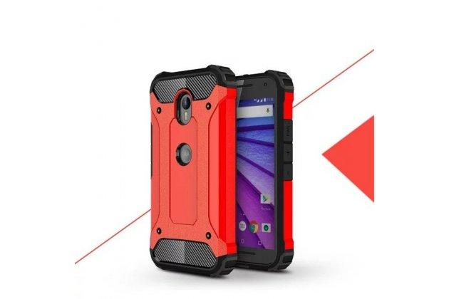 Противоударный усиленный ударопрочный фирменный чехол-бампер-пенал для Motorola Moto G3 Gen.3 (XT1550/ XT1548) красный