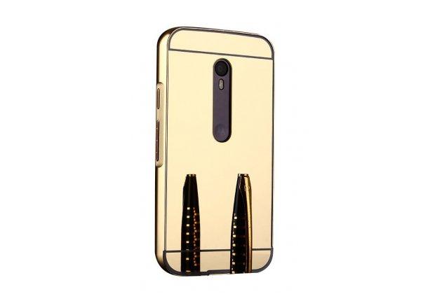 Фирменная металлическая задняя панель-крышка-накладка из тончайшего облегченного авиационного алюминия для Motorola Moto G3 Gen.3 (XT1550/ XT1548) золотая