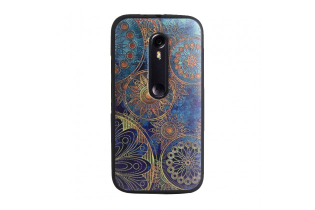 """Фирменная роскошная задняя панель-чехол-накладка из мягкого силикона с объемным  3D изображением  на Motorola Moto G3 Gen.3 (XT1550/ XT1548) с безумно красивым рисунком """"Восточные узоры"""""""