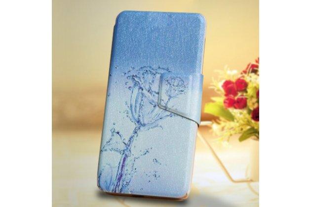 """Фирменный чехол-книжка с подставкой застёжкой и визитницей для Motorola Moto G3 Gen.3 (XT1550/ XT1548) с изображением """"Водяная роза"""""""