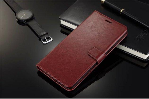 Фирменный чехол-книжка из качественной импортной кожи с подставкой застёжкой и визитницей для Motorola Moto E (XT1021/ XT1022/ XT1025) / Motorola Moto E Dual sim коричневый