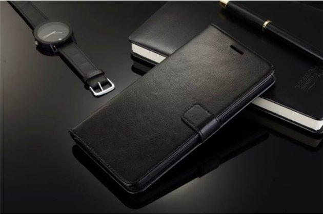Фирменный чехол-книжка из качественной импортной кожи с подставкой застёжкой и визитницей для Motorola Moto E (XT1021/ XT1022/ XT1025) / Motorola Moto E Dual sim черный