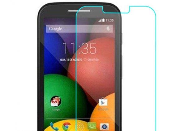 Фирменное защитное закалённое противоударное стекло для телефона Motorola Moto E (XT1021/ XT1022/ XT1025) / Motorola Moto E Dual sim из качественного японского материала премиум-класса с олеофобным покрытием