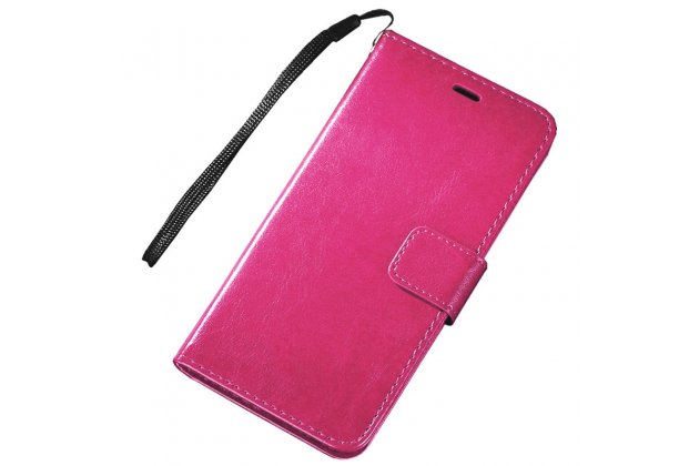 Фирменный чехол-книжка из качественной импортной кожи с подставкой застёжкой и визитницей для Motorola Moto E (XT1021/ XT1022/ XT1025) / Motorola Moto E Dual sim розовый
