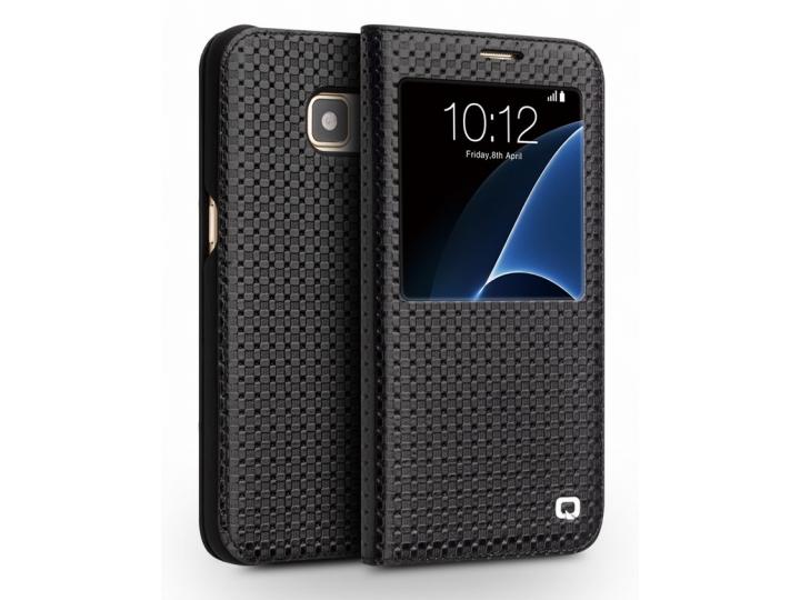 Фирменный дорогой премиальный чехол с окошком для входящих вызовов для Samsung Galaxy S7 edge G9350/G935/S7 ed..