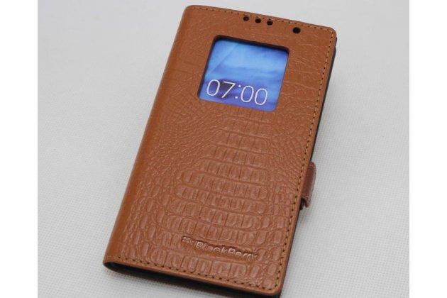Фирменный оригинальный чехол-книжка с логотипом для BlackBerry Priv коричневый из кожи крокодила с окошком для входящих вызовов