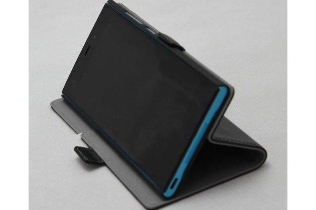 Фирменный оригинальный чехол-книжка с логотипом из качественной импортной кожи для BlackBerry Priv черный с окошком для входящих вызовов
