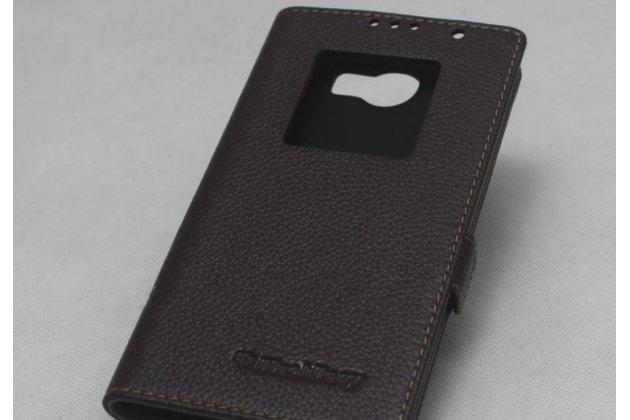 Фирменный оригинальный чехол-книжка с логотипом из качественной импортной кожи для BlackBerry Priv коричневый с окошком для входящих вызовов