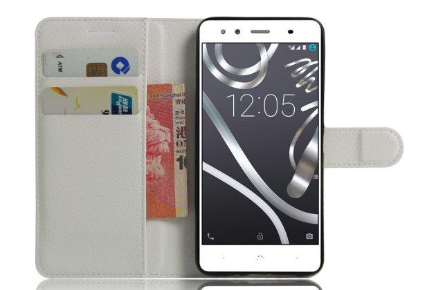 Фирменный чехол-книжка из качественной импортной кожи с подставкой застёжкой и визитницей для BQ Aquaris X5 Cyanogen Edition/ X5 Android Version 16Gb/32Gb белый