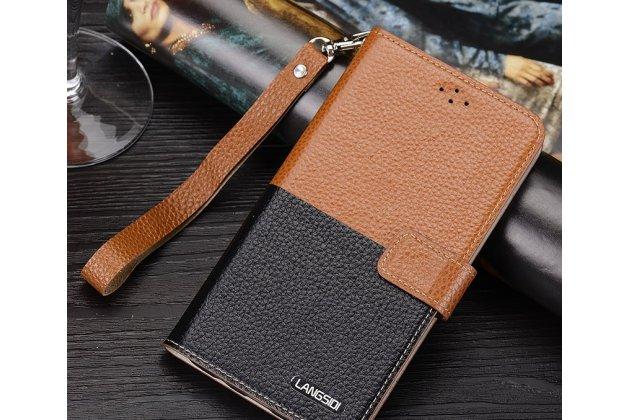 Фирменный чехол-книжка из качественной импортной кожи с подставкой застёжкой и визитницей для Philips Xenium V787 коричнево-черный