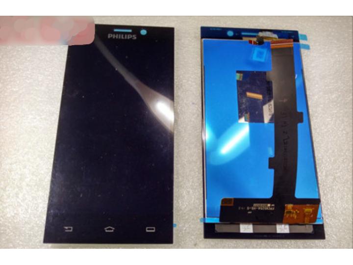 Фирменный LCD-ЖК-сенсорный дисплей-экран-стекло в сборе с тачскрином на телефон Philips Xenium V787 черный + г..