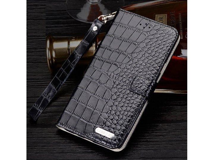 Фирменный оригинальный подлинный чехол для Philips Xenium V787 из натуральной кожи крокодила черный..