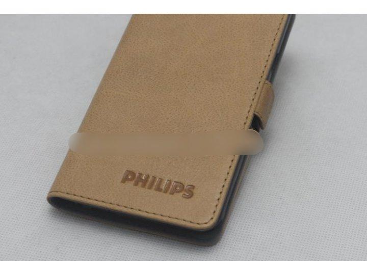 Фирменный оригинальный подлинный чехол с логотипом для Philips Xenium V787 из натуральной кожи светло-коричнев..