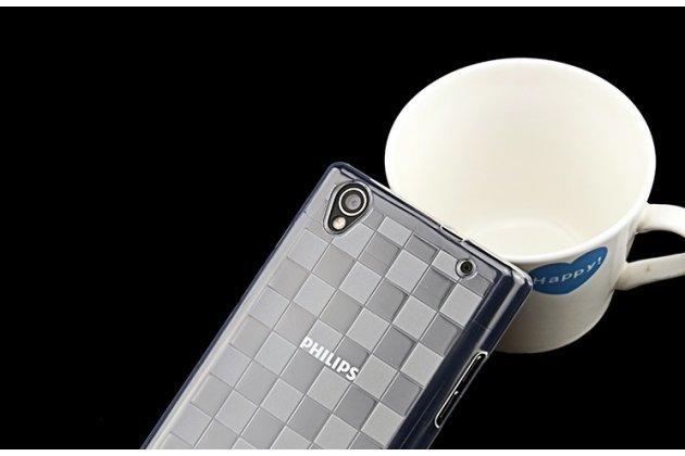 Фирменная ультра-тонкая полимерная из мягкого качественного силикона задняя панель-чехол-накладка для Philips Xenium V787 прозрачная