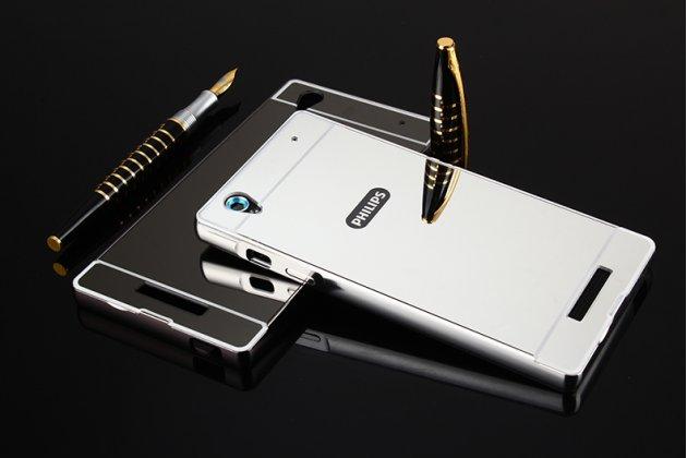 Фирменная металлическая задняя панель-крышка-накладка из тончайшего облегченного авиационного алюминия для Philips Xenium V787 серебристая