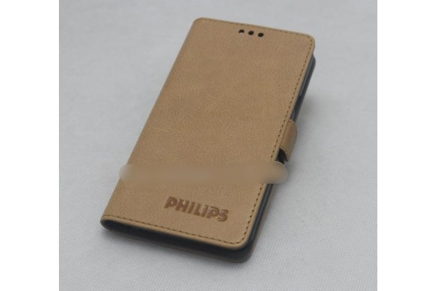 Фирменный оригинальный подлинный чехол с логотипом для Philips Xenium V787 из натуральной кожи светло-коричневый
