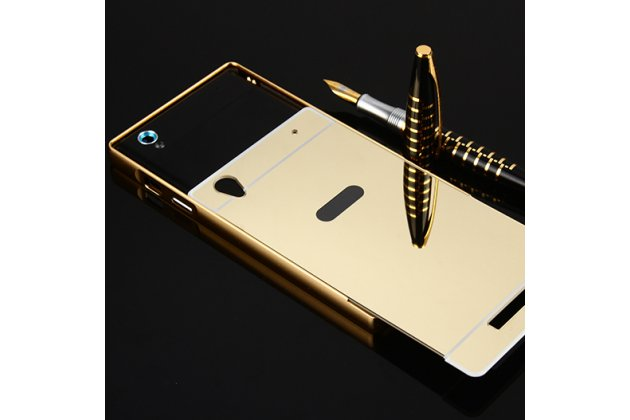 Фирменная металлическая задняя панель-крышка-накладка из тончайшего облегченного авиационного алюминия для Philips Xenium V787 золотая