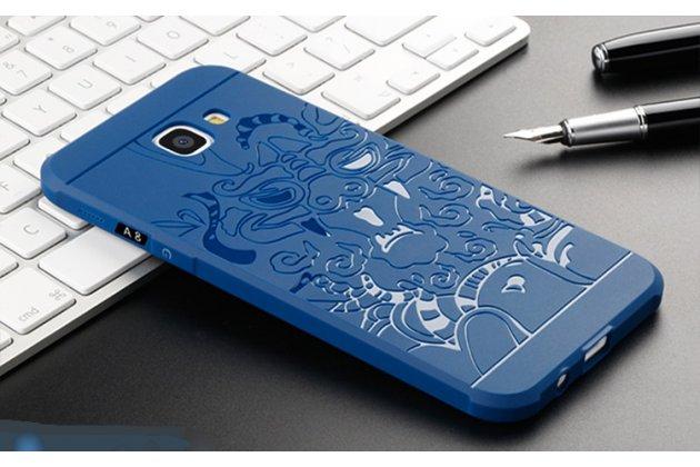 """Фирменная роскошная задняя панель-чехол-накладка  из мягкого силикона с безумно красивым расписным 3D рисунком на Samsung Galaxy A8 2016 SM-A800x """"тематика Дракон"""" синяя"""