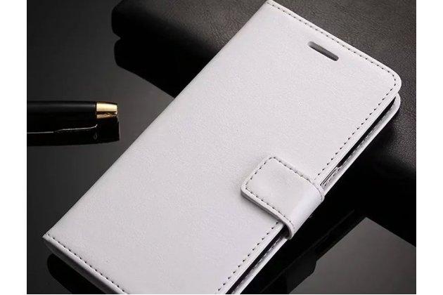 Фирменный чехол-книжка из качественной импортной кожи с подставкой застёжкой и визитницей для Samsung Galaxy A8 2016 SM-A800x белый